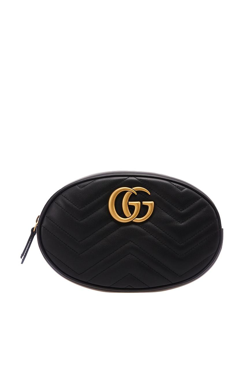 Gucci Черная поясная сумка GG Marmont