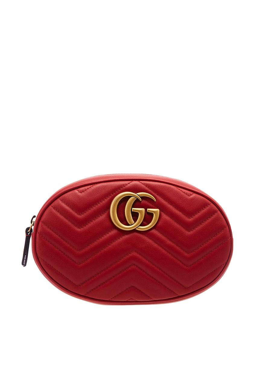 Красная поясная сумка GG Marmont