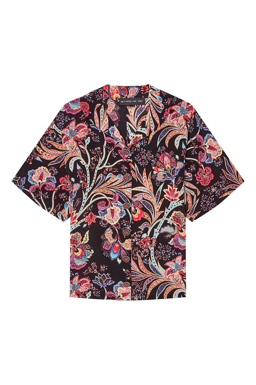 Etro Блузка с цветочным принтом etro белая рубашка с голубым принтом