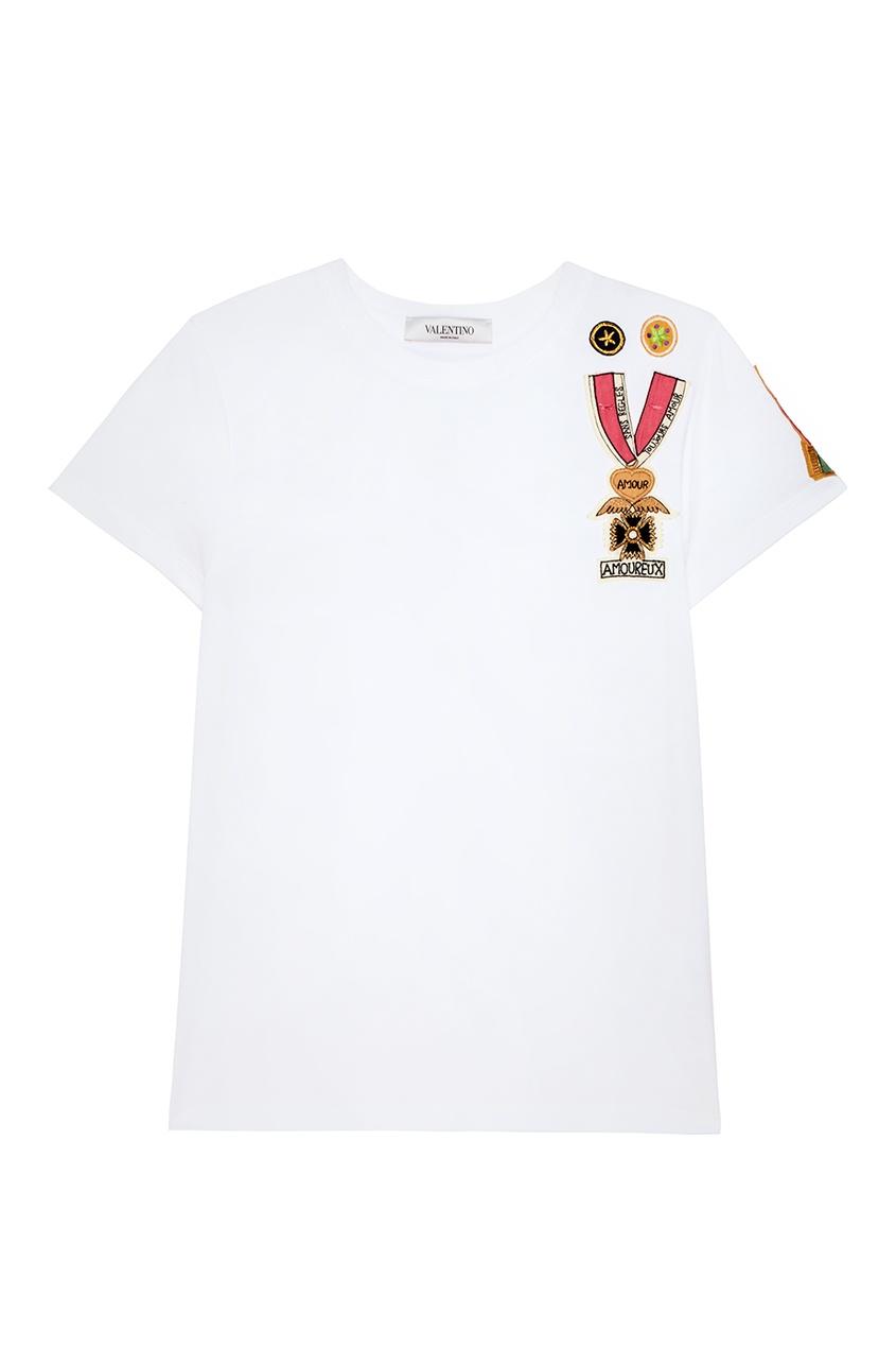Valentino Белая футболка с аппликацией полуприлегающая футболка с аппликацией
