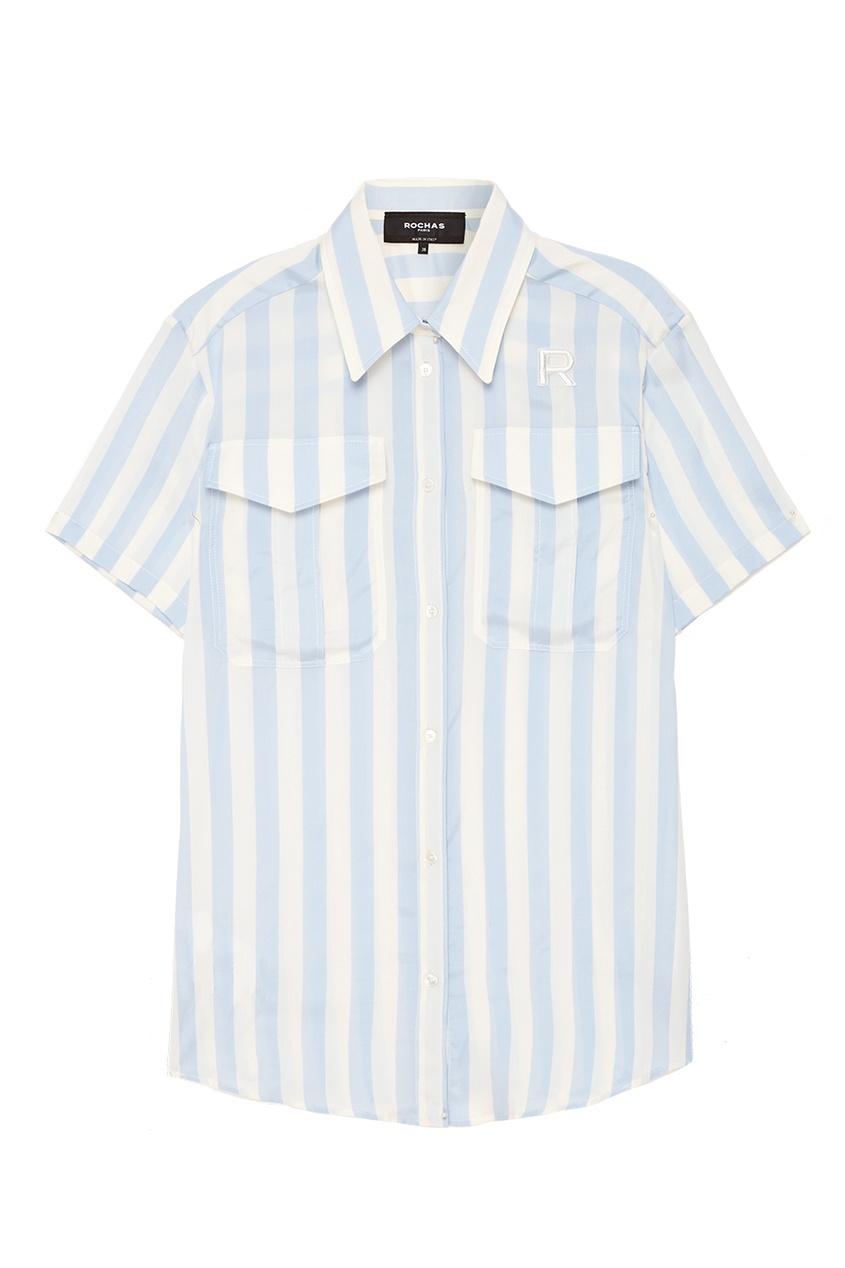 женская рубашка rochas, голубая
