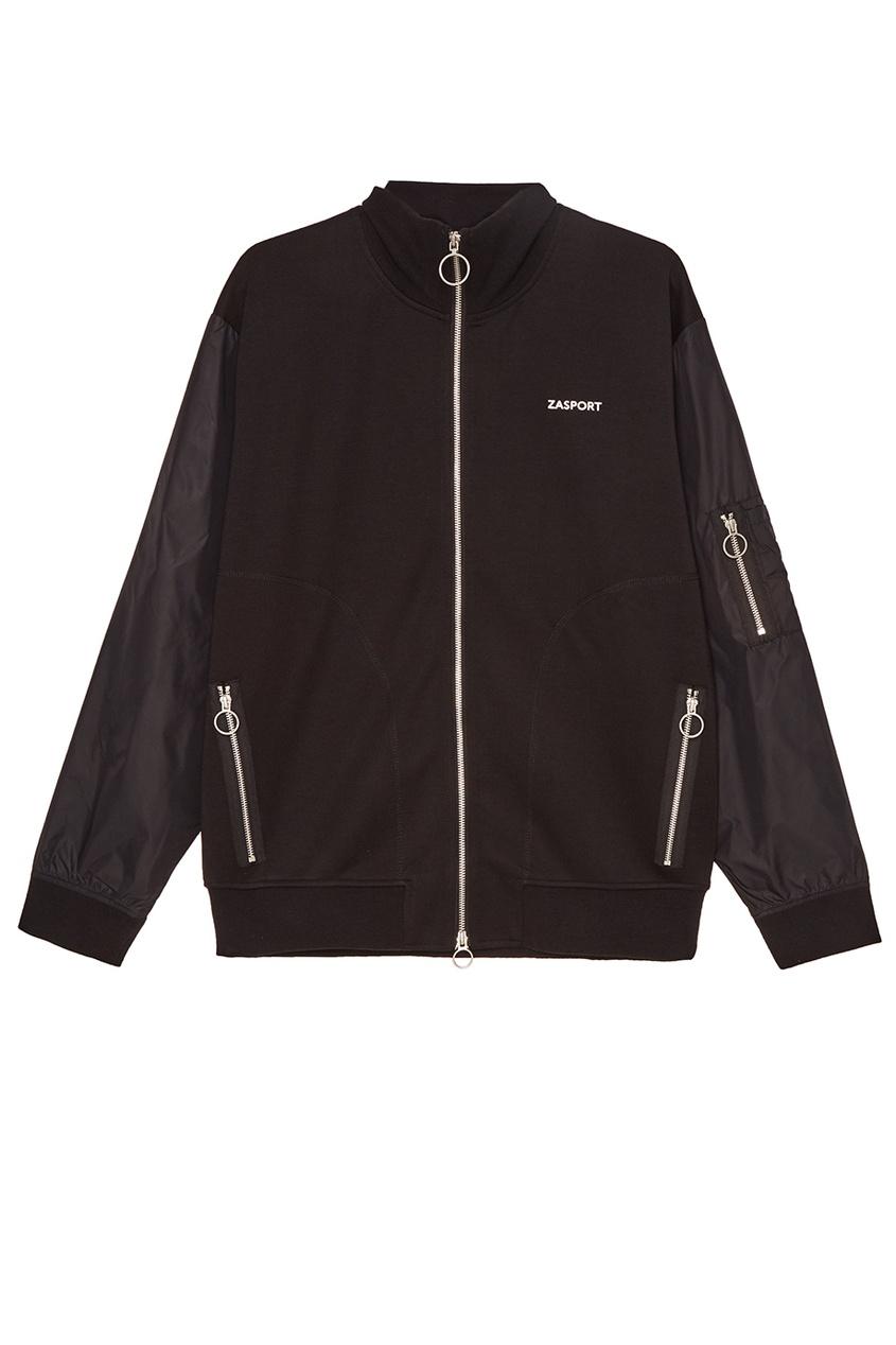 Черная куртка-бомбер и хлопка