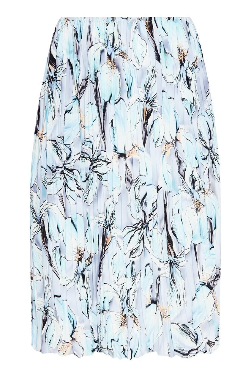 Шелковая плиссированная юбка с принтом