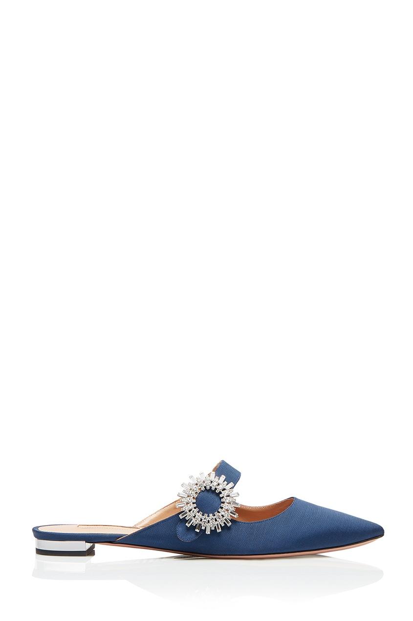 Aquazzura Слиперы с текстильной отделкой Crystal Blossom Flat слиперы beira rio слиперы