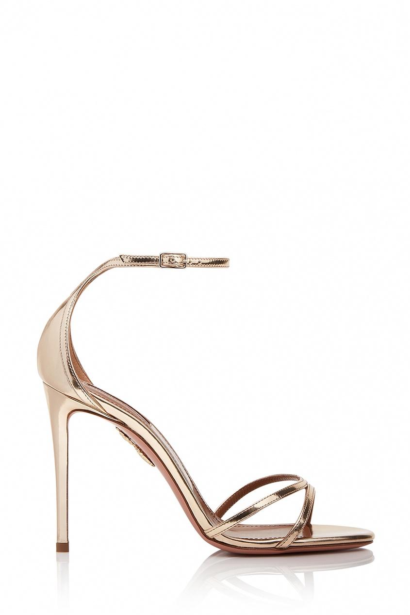 Золотистые босоножки Purist Sandal 105 Aquazzura