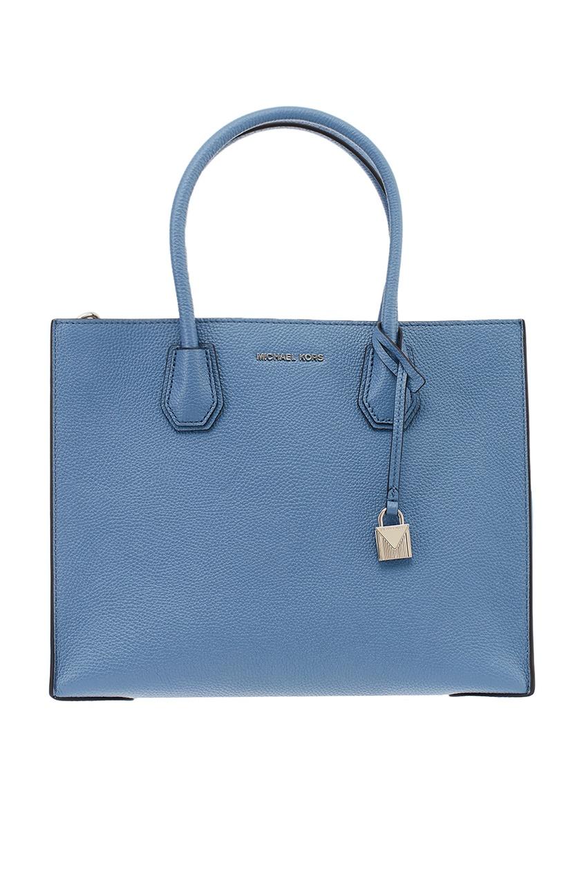 Голубая кожаная сумка Mercer