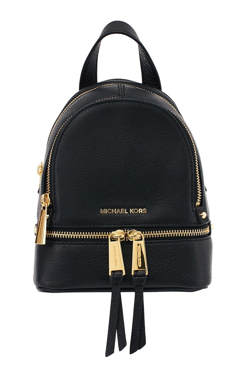 Michael Kors Черный кожаный рюкзак Rhea Zip рюкзак michael michael kors michael michael kors mi048bwaecc9