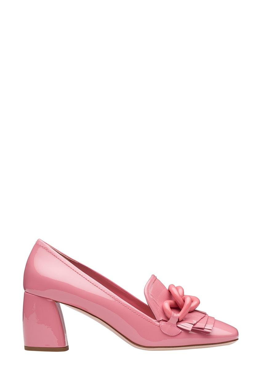 Miu Miu Розовые лакированные туфли с цепочкой лоферы marko туфли на каблуке