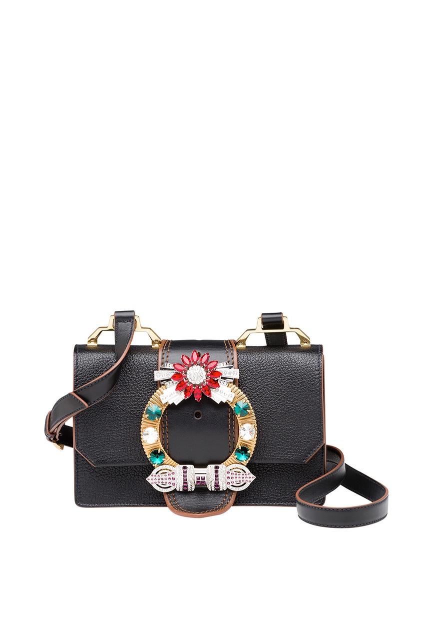 Miu Miu Черная сумка с декорированной пряжкой Miu Lady