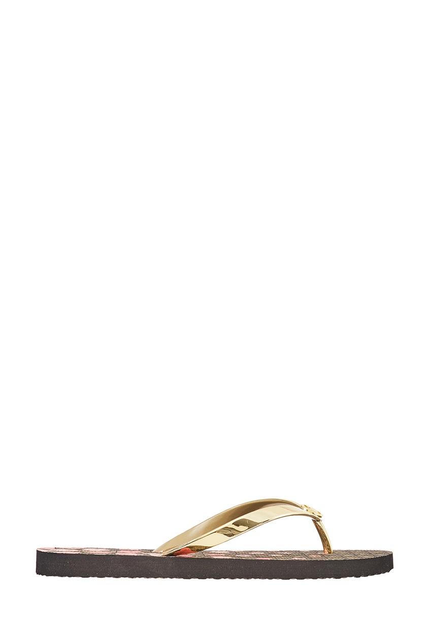 Золотистые сандалии из кожи