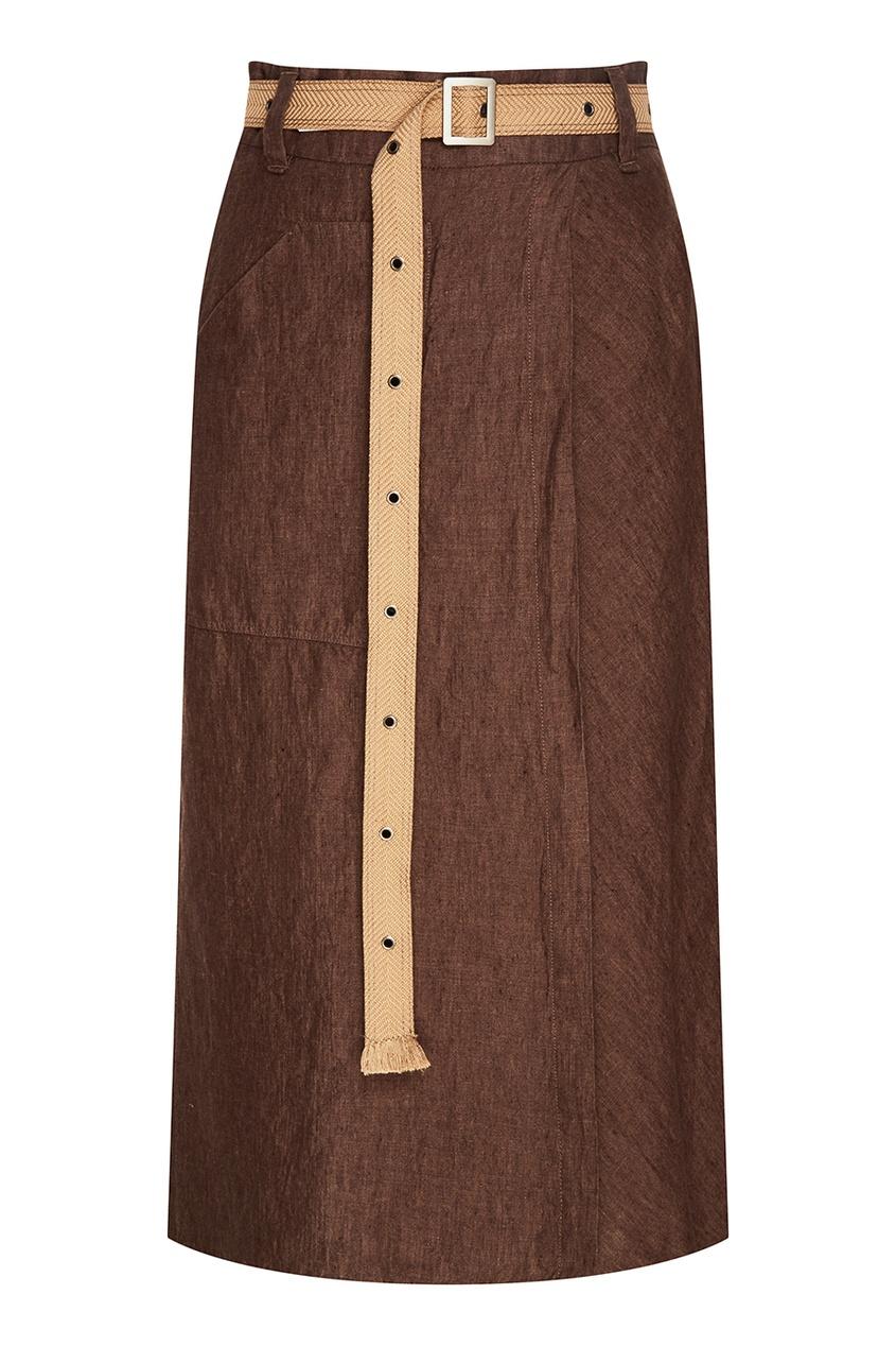 Льняная юбка-миди с запахом