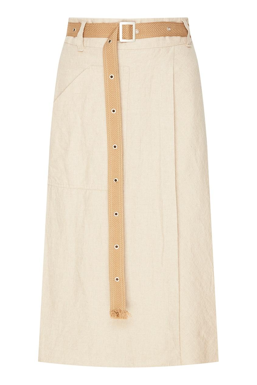 Бежевая льняная юбка