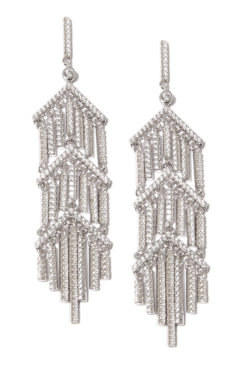 Dzhanelli Jewellery Серебряные серьги с подвесками и фианитами серьги с подвесками jv серебряные серьги с куб циркониями mpe 174 001 blk