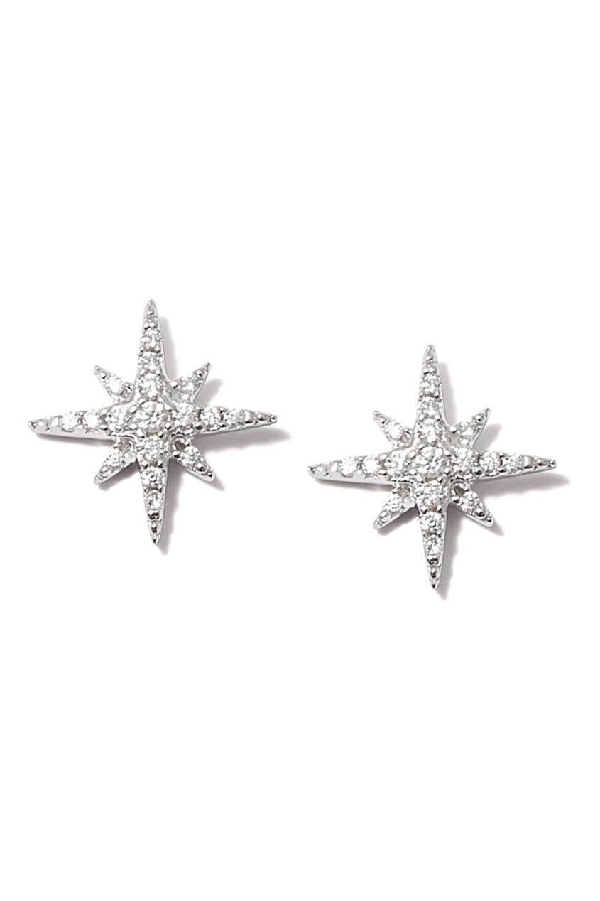 Dzhanelli Jewellery Серьги-гвоздики со звездами серьги гвоздики cai серебряные серьги с цирконами c1201e 90 43zir