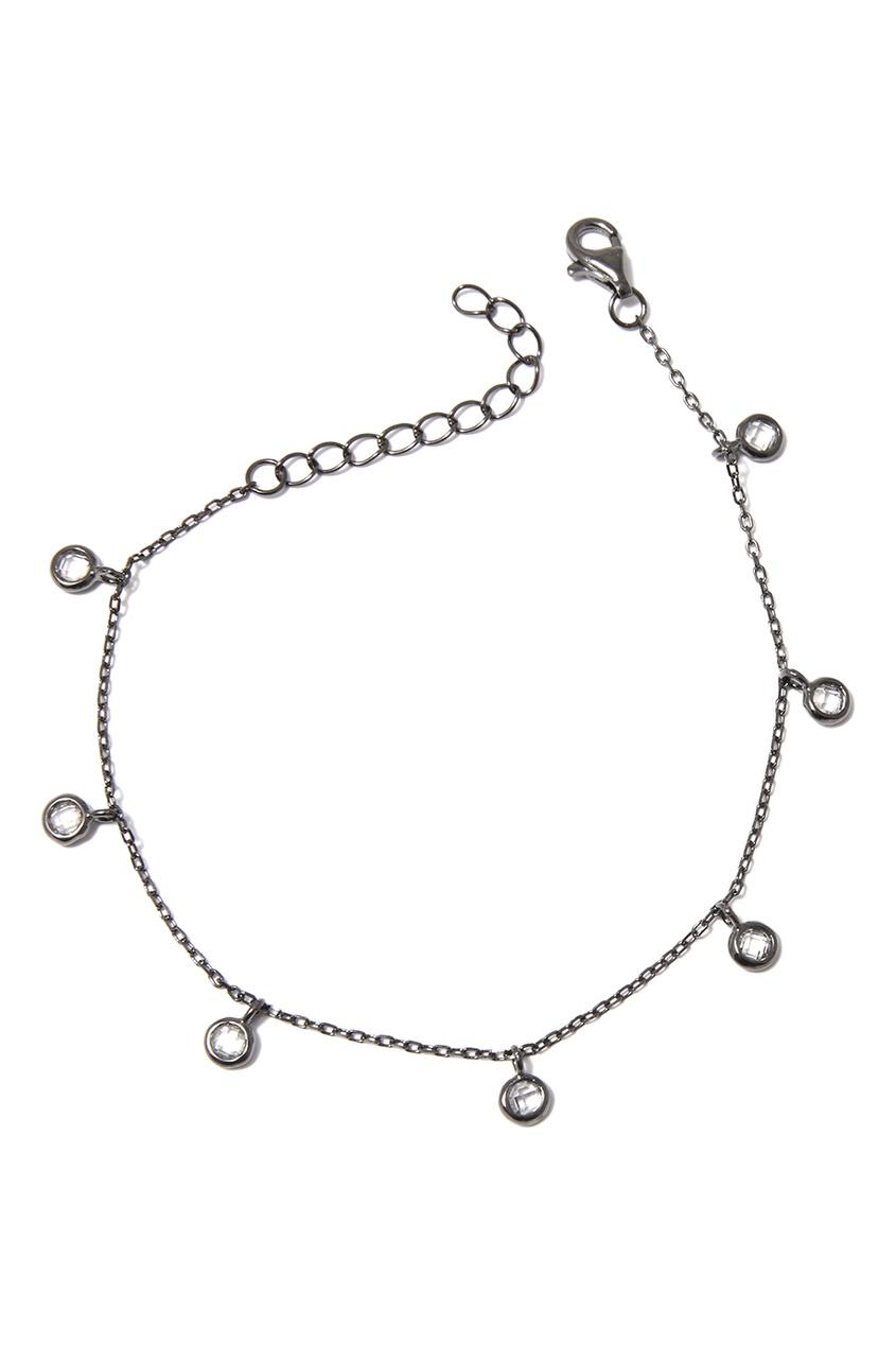 Серебряный браслет с прозрачными подвесками