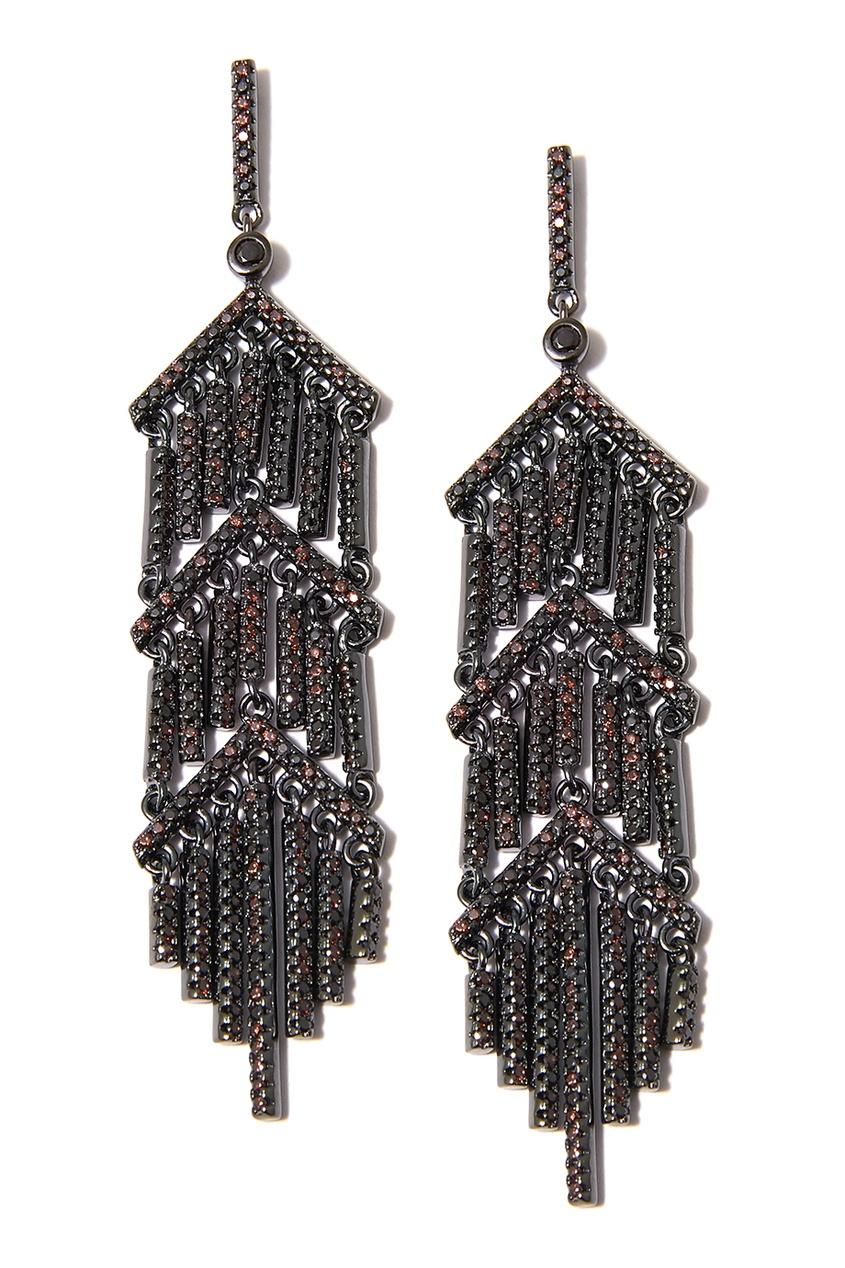 Dzhanelli Jewellery Черненые серебряные серьги с подвесками серьги с подвесками jv серебряные серьги с куб циркониями mpe 174 001 blk