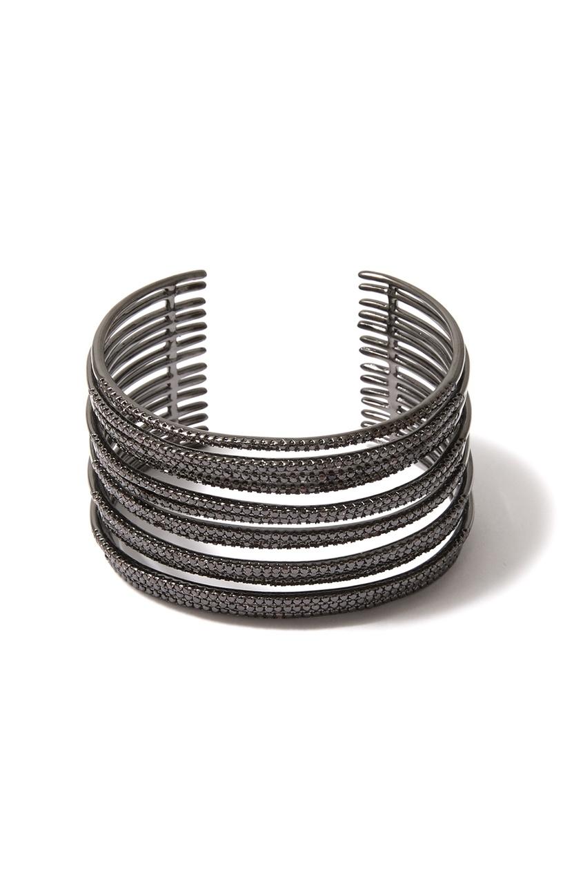 Многослойный черненый браслет с фианитами
