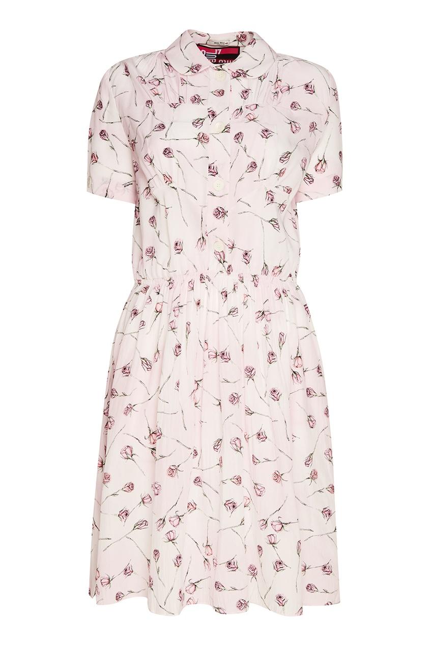 Miu Miu Шелковое платье с розами платье с застежкой впереди