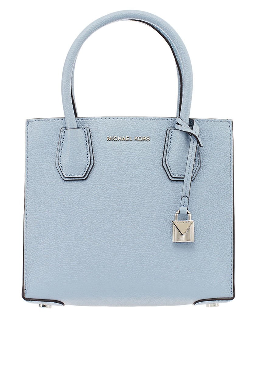 Michael Kors Бледно-голубая кожаная сумка Mercer michael michael kors синяя кожаная сумка тоут