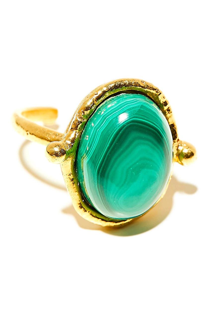 Позолоченное кольцо с малахитом