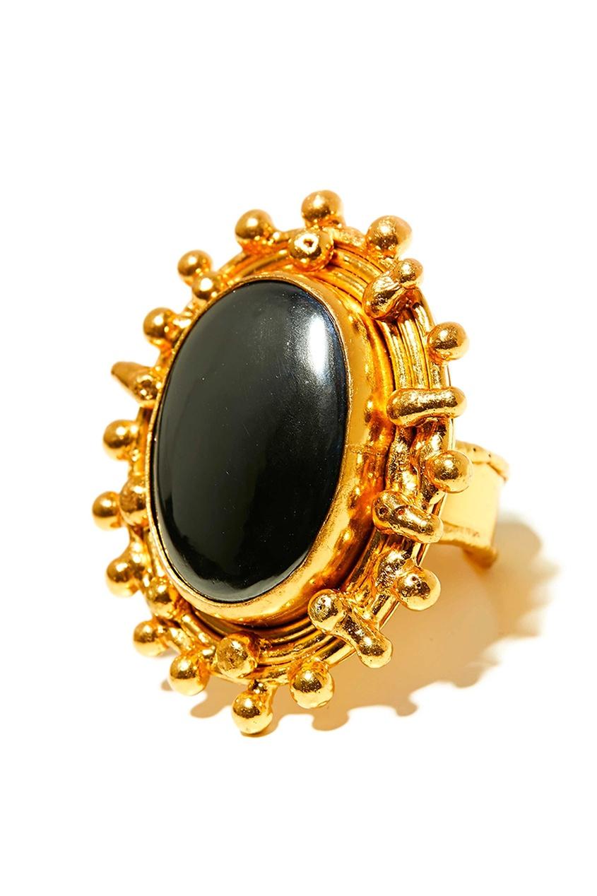 Позолоченное кольцо с гематитом