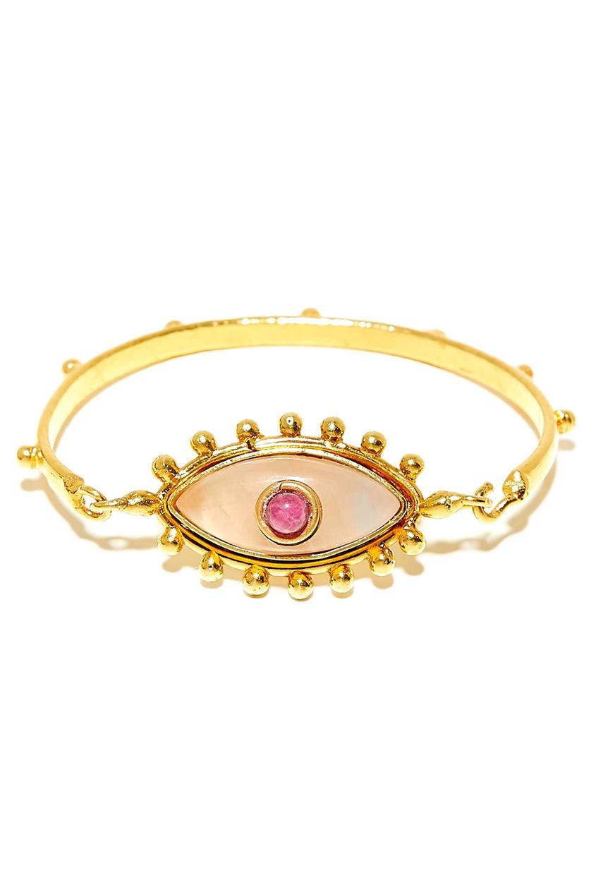 Позолоченный браслет с кварцем и рубином