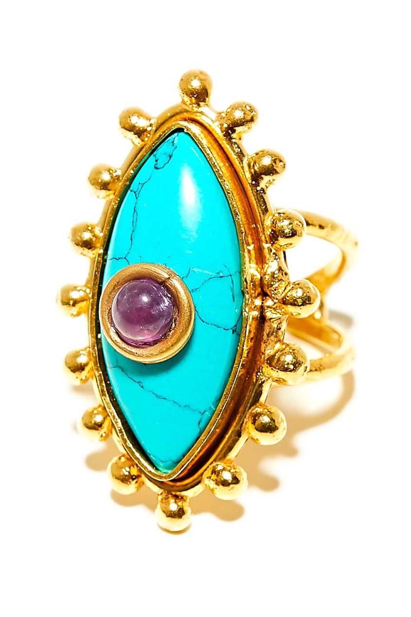 Sylvia Toledano Позолоченное кольцо с аметистом и бирюзой