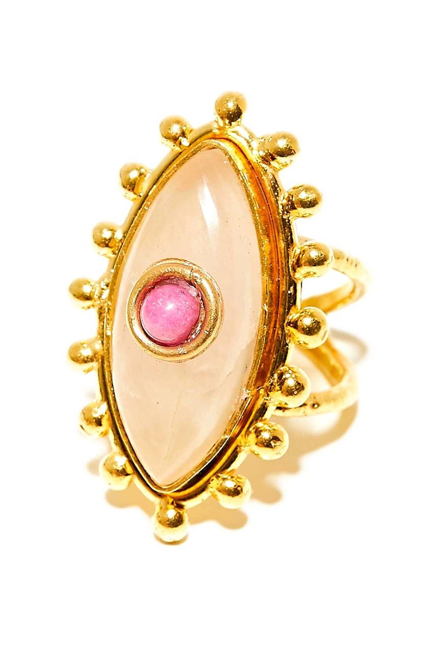 Позолоченное кольцо с рубином и кварцем