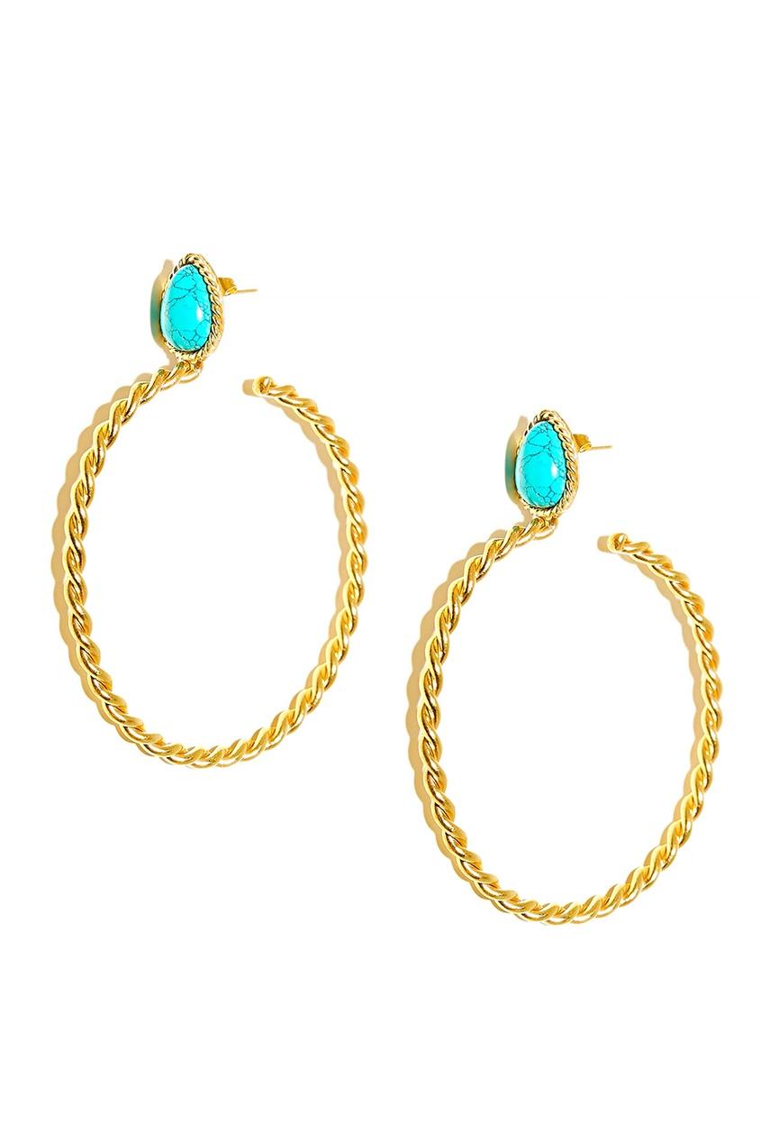 Sylvia Toledano Позолоченные серьги-кольца с бирюзой