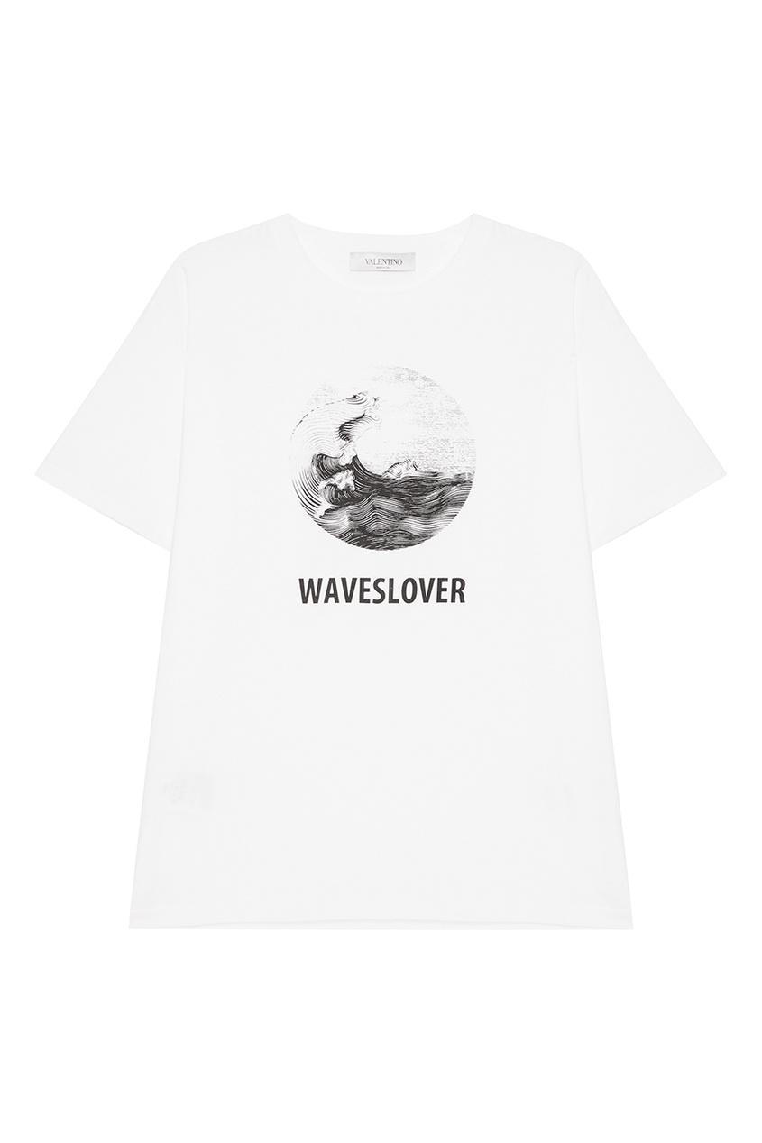 Valentino Белая футболка с принтом
