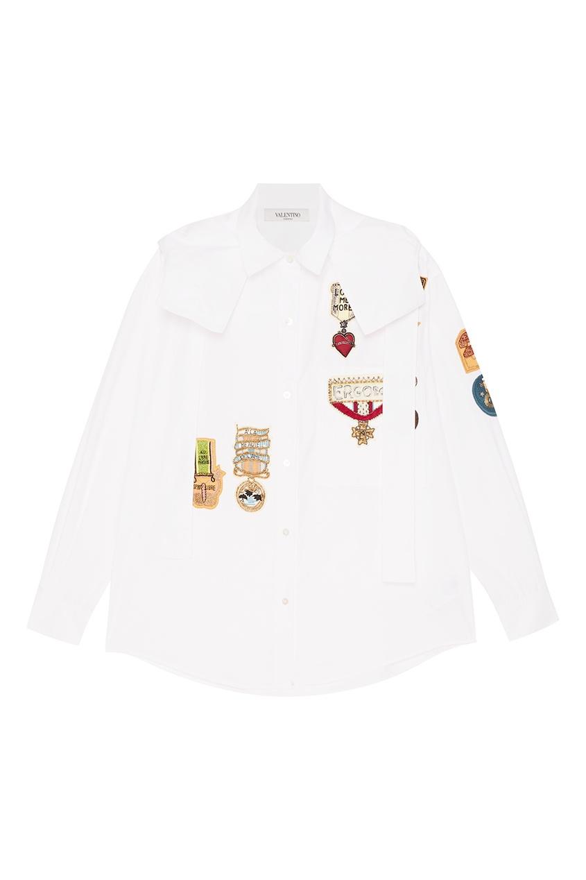 Valentino Белая рубашка с аппликациями red valentino джинсовая крутка с кристаллами и аппликациями