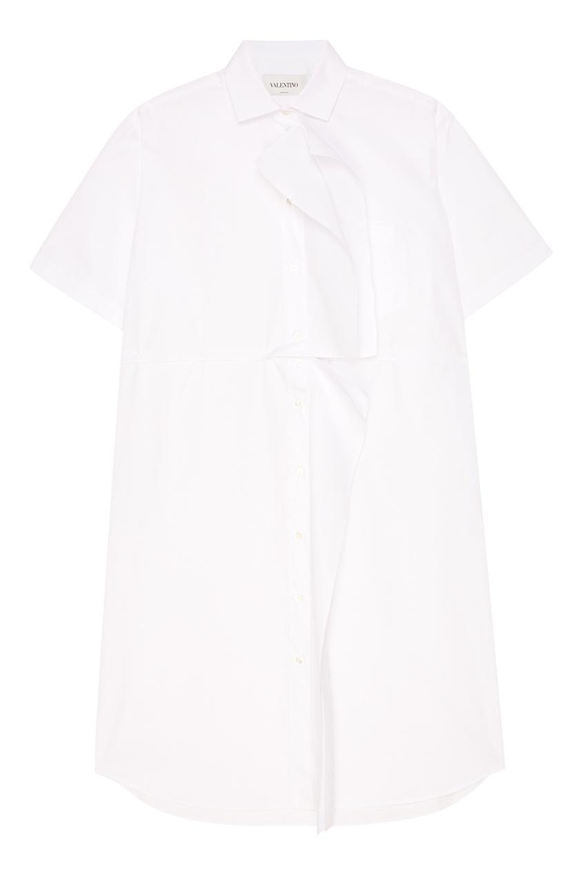 Valentino Белое платье-рубашка с воланом платье с воланом из жатого крепа