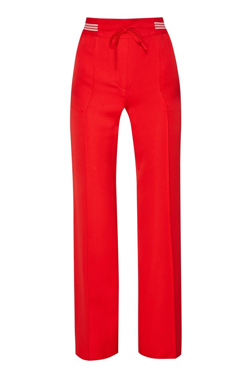 Valentino Красные брюки с эластичным поясом женские брюки red valentino 2015