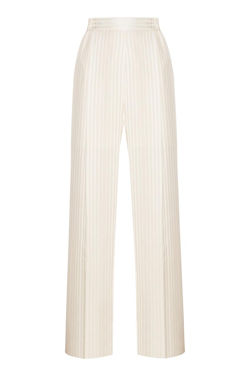 Stella McCartney Белые шелковые брюки stella mccartney шелковые брюки с принтом