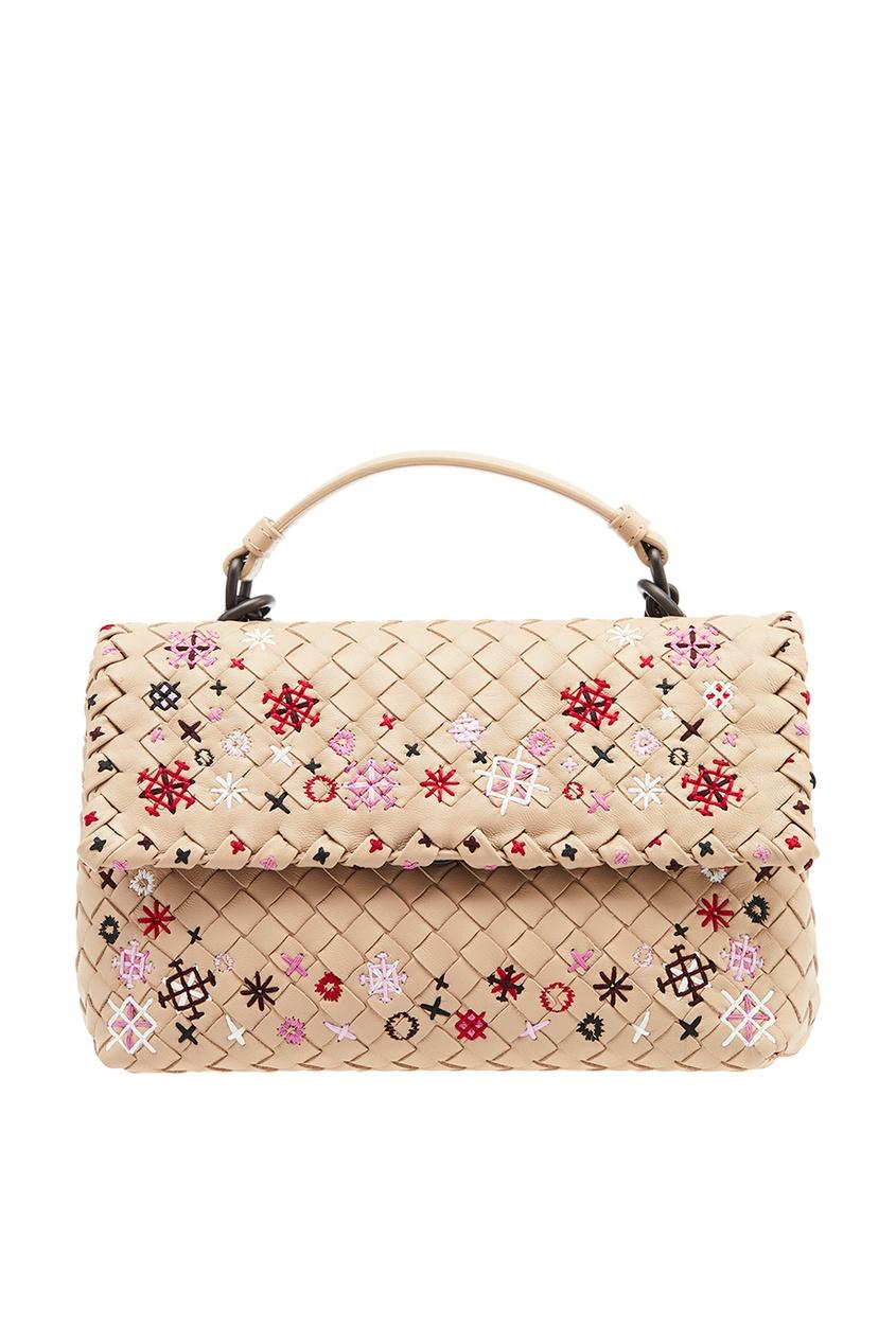 Bottega Veneta Бежевый клатч с плетением и вышивкой клатч galib клатч