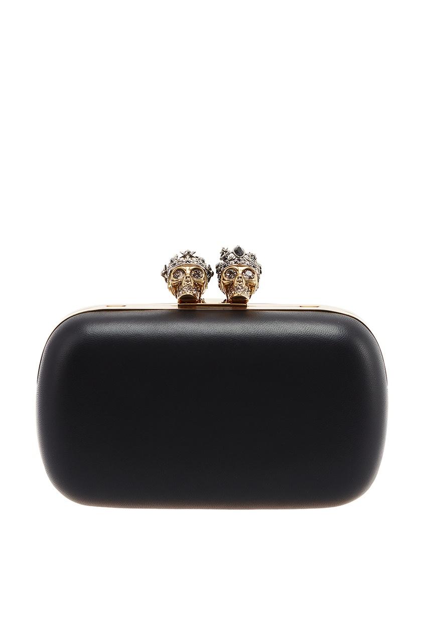 Черный клатч с золотистой застежкой Queen&King Alexander McQueen
