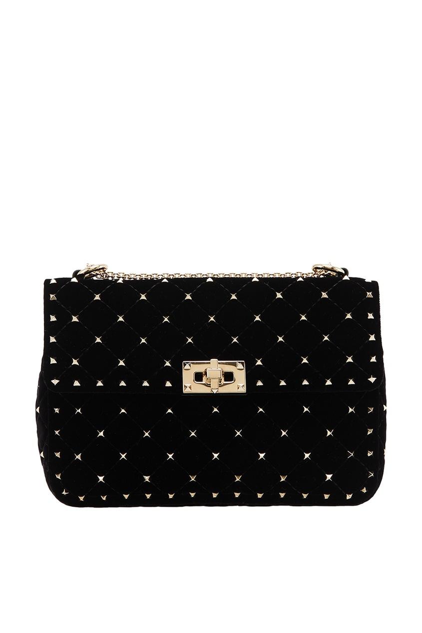 Бархатная черная сумка с шипами Rockstud Spike VALENTINO
