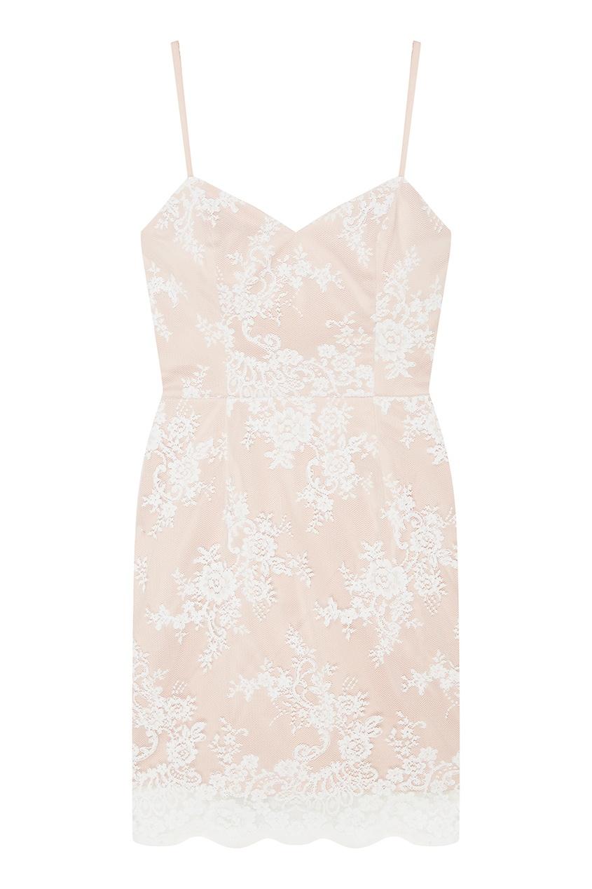 T-Skirt Бежевое платье с кружевом цена 2017