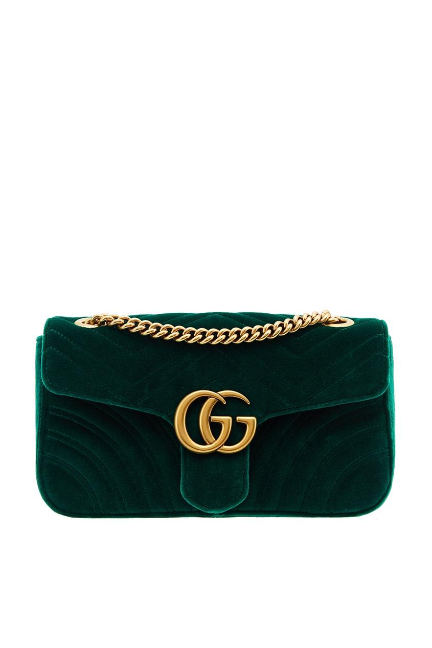 Gucci Зеленая бархатная сумка GG Marmont gucci кожаные туфли gg marmont