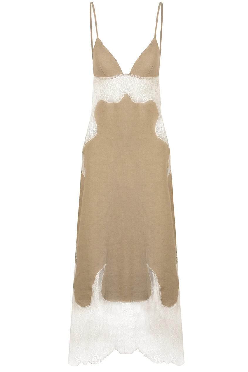 Льняное платье с кружевом Off-White