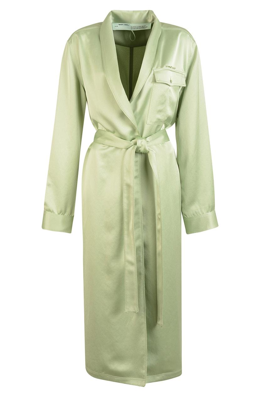 Off-white Зеленый атласный халат атласный белый халат с длинным рукавом