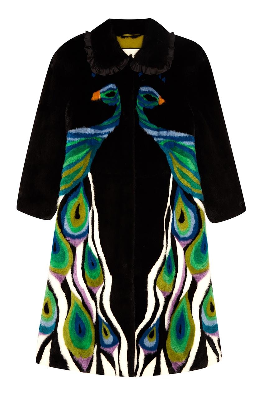 Gucci Норковая шуба с павлинами норковая шуба с воротником стойкой