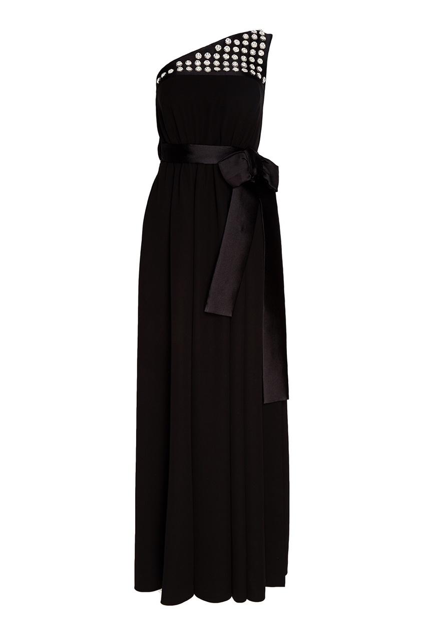 Prada Черное шелковое платье с бантом