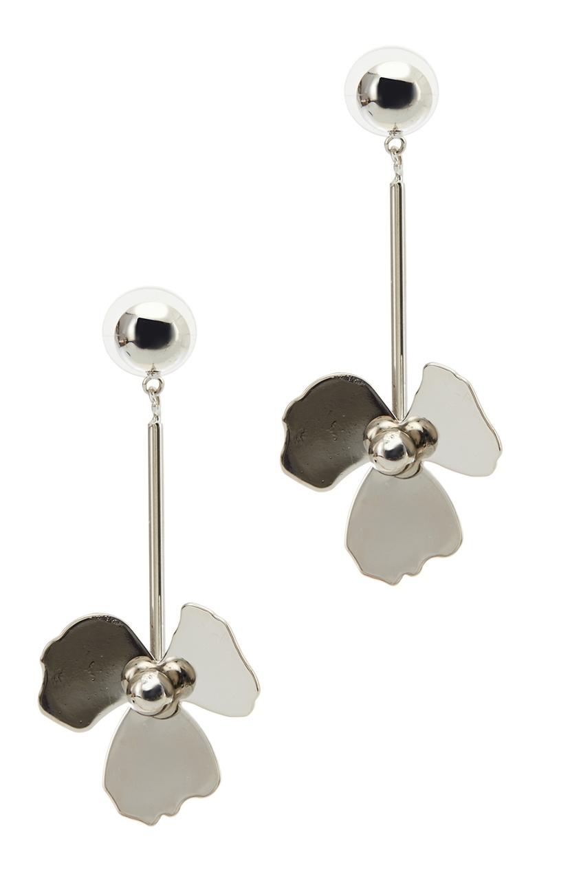 Серебристые серьги-цветы