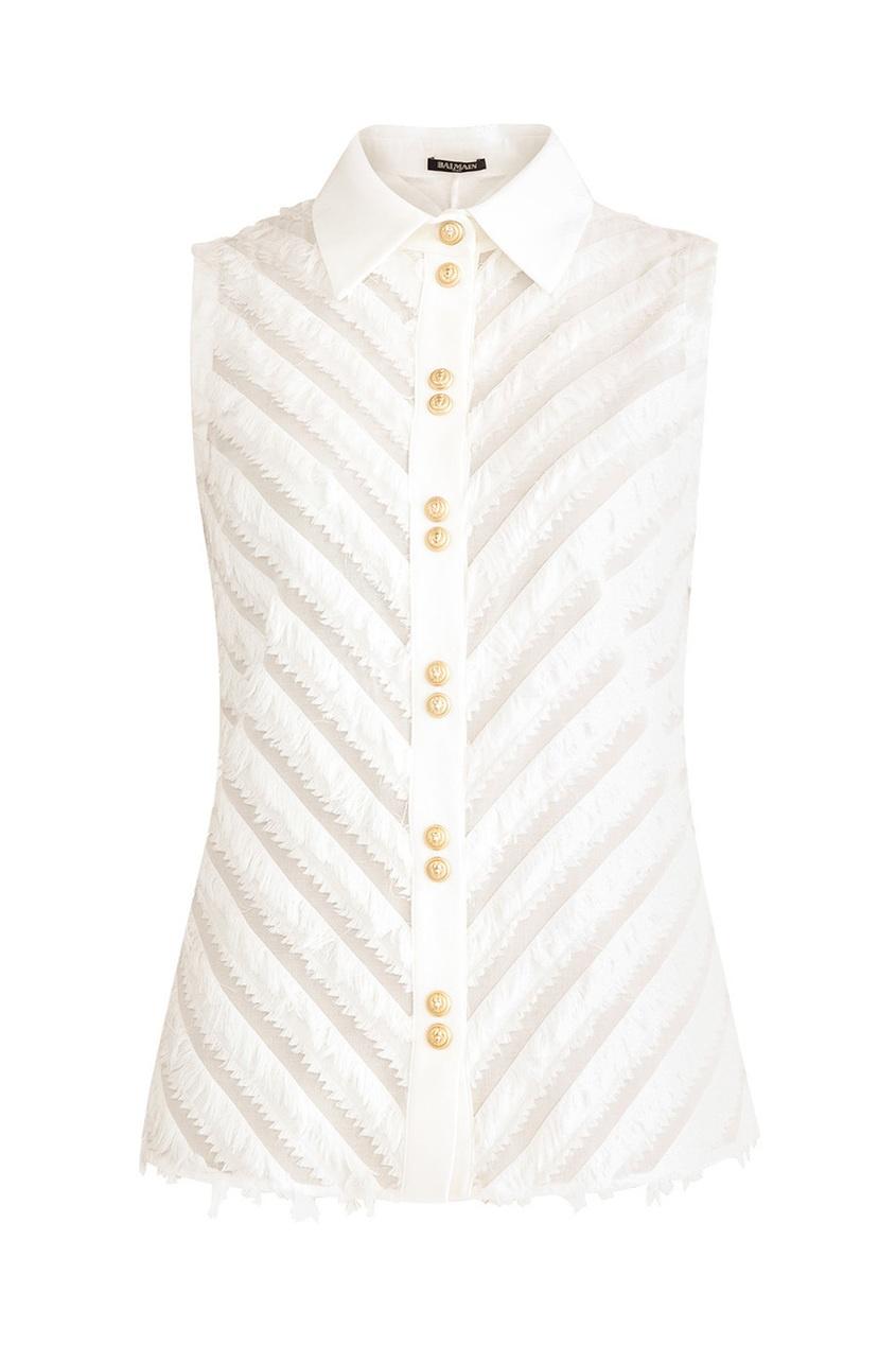 Balmain Белая блузка с золотистыми пуговицами цены онлайн