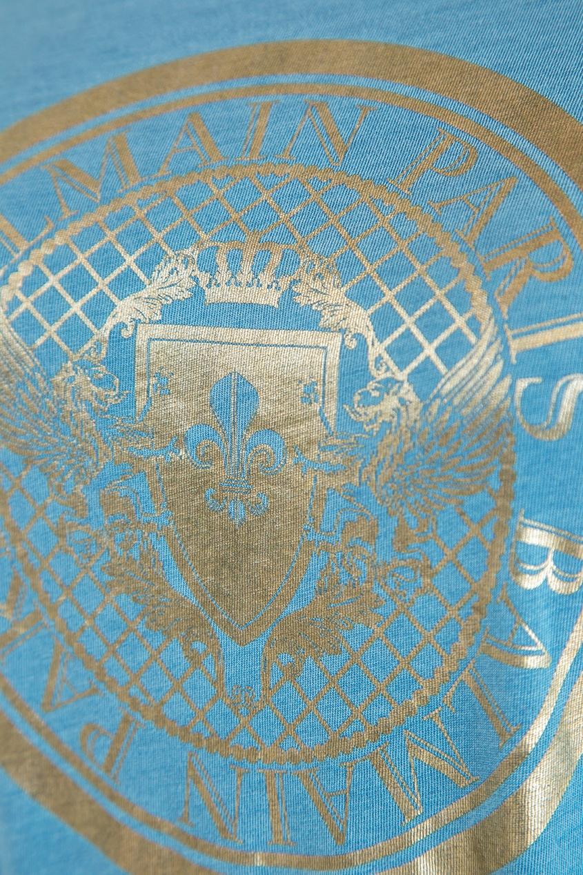 женская футболка balmain, синяя