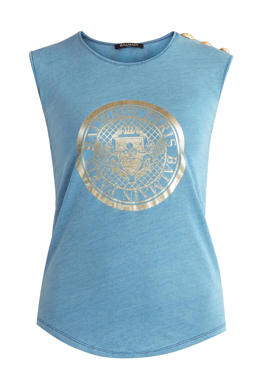 Balmain Синяя хлопковая футболка с логотипом napapijri синяя хлопковая футболка с логотипом