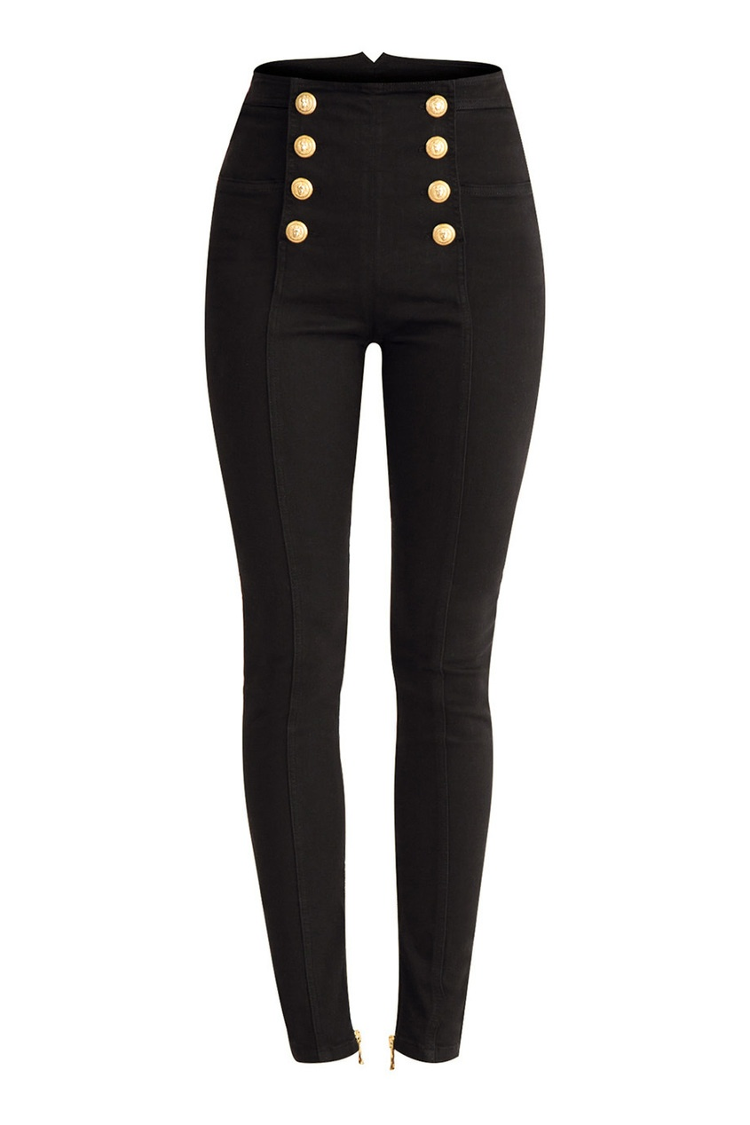 Balmain Черные джинсы-скинни с пуговицами
