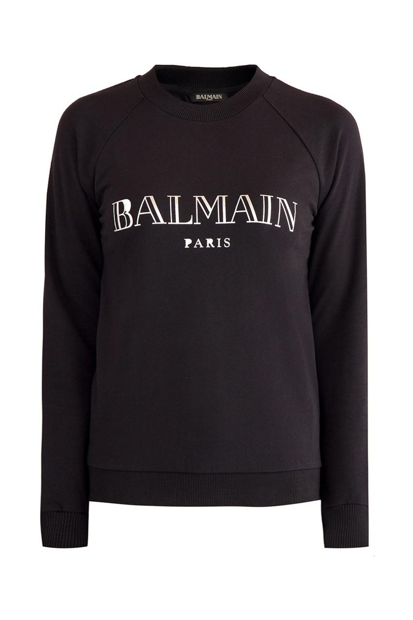Balmain Черный свитшот с логотипом цены онлайн