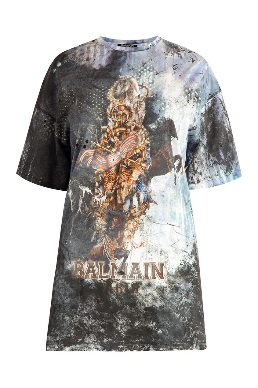 Balmain Хлопковая футболка с коллажным принтом футболка из двух материалов с принтом